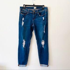 Sneak Peek Distressed Skinny Rolled Ankle Jean